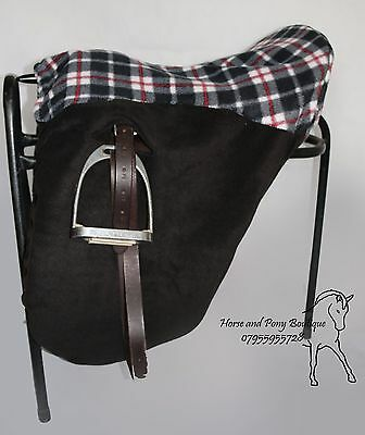 SADDLE COVER Ride on black with grey tartan  ALL SIZES, saddle cover protector
