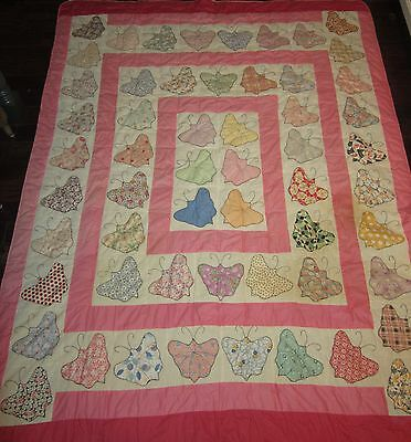 Vintage Large HEAVY Handmade Applique Embroidered Butterfly Quilt Flour Sack