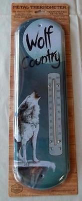 NEW Indoors or Outdoors Metal Wall Thermometer WOLF COUNTRY