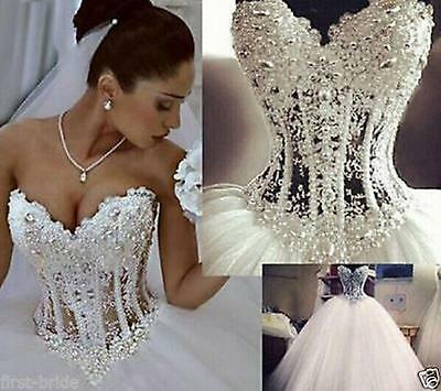 New White/Ivory Bead Wedding Dress Bridal Gown Custom Size 6 8 10 12 14 16 18