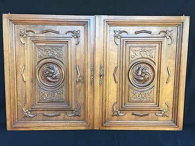 Pair of Antique French wood door panel carved renaissance fourniture of 19 th