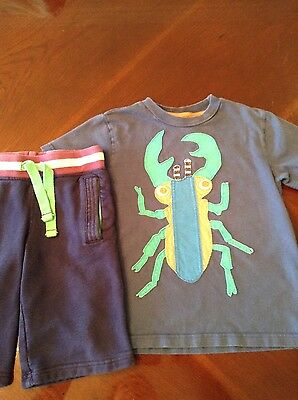 Mini Boden boys lot bug tee and sweat shorts sizes 4/5 blue & navy