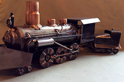 Train Steam Locomotive Coal Car, Sculpture Welded Art, Metal, WITH FREE GIFT