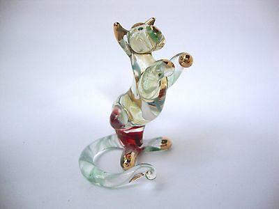 CAT Color Hand Blown Glass Figurine Art With Gold Trim