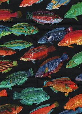 1 fat quarter vibrant TROPICAL WRASSE printed cotton patchwork fabric