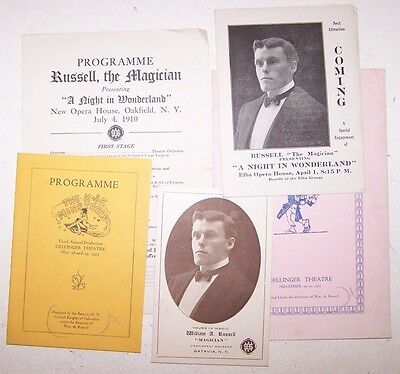 WILLIAM A. RUSSELL THE MAGICIAN 7 Pieces of Ephemera - Escapology - Houdini