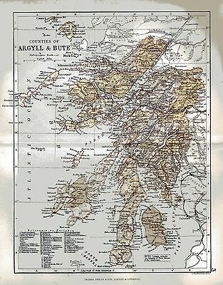 Map of the County Argyle & Bute, Scotland, dated 1884.