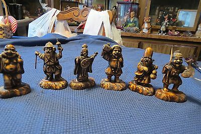 Antique/vintage Set Of 6 Japanese Gods Statues , From The 1940's, Excellant Cond