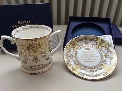 Royal Worcester, Royal Baby, Prince George Loving Cup & Mini Plate (Round Tray)