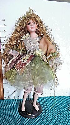 """Doll, Fairy, 16"""",Porcelain, Cathay Collection, Very Long Curly Hair, Moss Green"""
