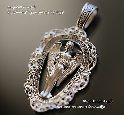 Guardian Angel Protective Pendant Charm Silver 925 Russian Orthodox Jewelry New