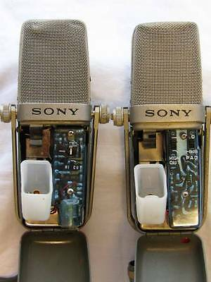 1960's Sony C-38A & 1970's C-38B Condenser Microphone Mic Cardioid & Omni