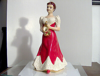 Beautiful vintage ceramic teapot Lady in red dress 12 1/2 inch tall