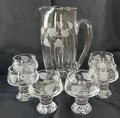 Clear Glass Etched Cocktail Pitcher and 6 Glasses Leaves Vintage Set Beautiful