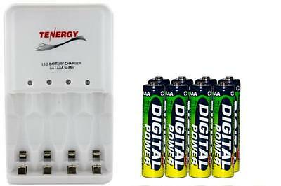 4 Bay AA / AAA LED Smart Charger + 8-Pack AAA Accupower NiMH 1200 mAh Batteries