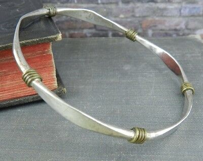 Taxco Mexico Two Tone Rustic Sterling Silver Bangle Bracelet