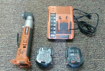 """Ridgid R82233 12 Volt Right Angle 1/4"""" Impact Driver, Charger, 2 Batteries"""