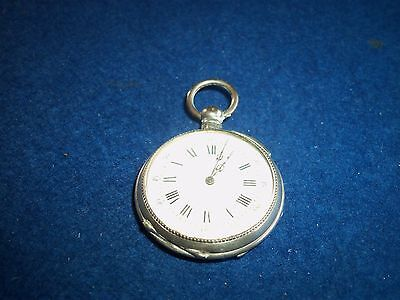 Vintage Silver 800 Grade Cylinore Huit Rubis Pocket Watch Nice Working Condition