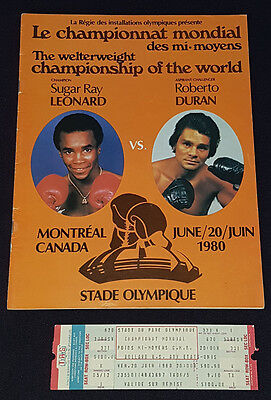 1980 - Roberto Duran Vs Sugar Ray Leonard - Olympic Stadium - Program And Ticket