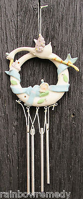 "Ceramic / Resin Stork & Baby Boy Windchime 11.5"" Long"