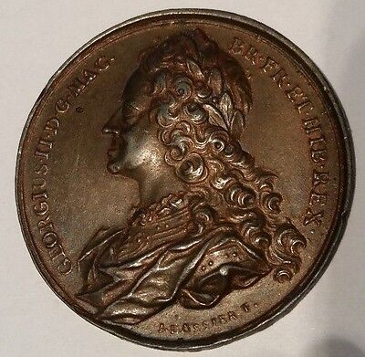 1731 George II 41mm Bronze Commemorative Medal By Jean Dassier: Eimer 681 Lustre