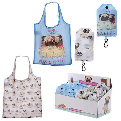 One Cute Pugs And Kisses Shopping Bag - Fold Away - Light Weight - Pugs - Pug