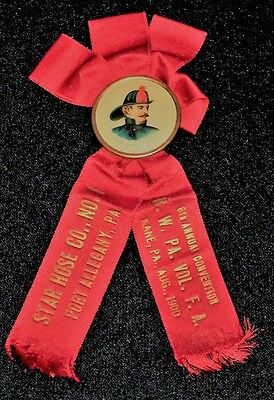 Vintage 1900's Fireman's Convention Ribbon and Pinback