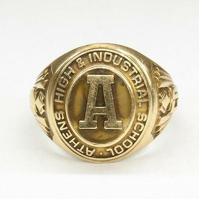 1950 Athens High & Industrial School 10k Yellow Gold Men's Size 10 Class Ring