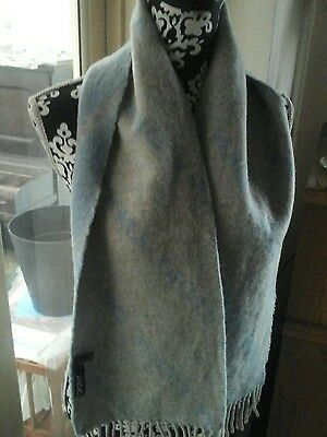 Genuine Dkny Scarf With Tassels, Blue & Grey, 100% Wool. Excellent Condition
