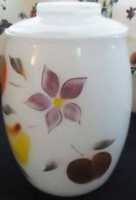 Vintage Bartlett Collins White Fruit and Floral Gay Fad Cookie Jar with Lid