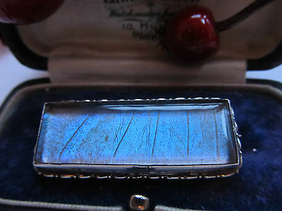 Antique Vintage Silver  Butterfly Wing Brooch , Rectangular