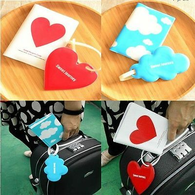 Cute Gift Silicone Luggage Tag Love/Cloud Travel Passport Holder Cover