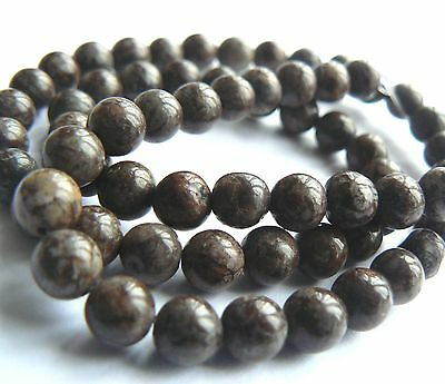 """Natural Stone Earth Tone Obsidian Brown & Grey 6mm Rounds x 60 beads 15"""" strand"""