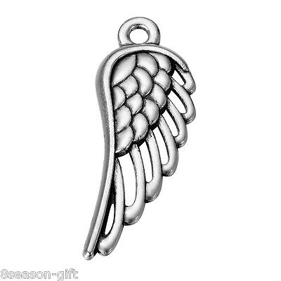20PCs Fashion Silver Alloy Hollow Angel Wings Small Pendant Jewelry 33mmx12mm