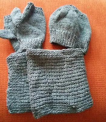 Final Reduction : Hand Knitted Young Boys Set Of Hat, Scarf And Fingerless Mitts
