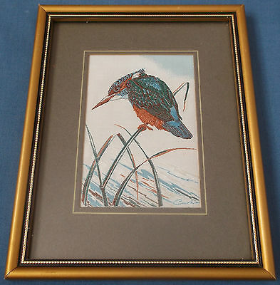 Cashs Vintage Woven Silk Picture Kingfisher Bird Natural History Series Wildlife