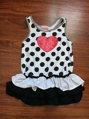 Toddler Girls Black & White Tank Top Shirt Size 5T Girl Clothes