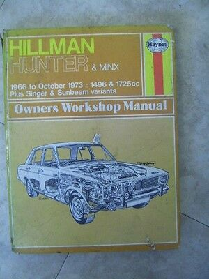 Vintage Haynes Workshop Manual for Hillman Hunter & Minx 1966-1973