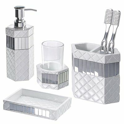4-Piece Quilted Mirror Bathroom Accessories Set with Soap Dispenser Dish Gift