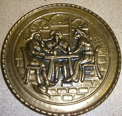 "Vintage Small Brass Wall Plate Plaque Repousse Tavern Scene 6"" Piecrust Rim"