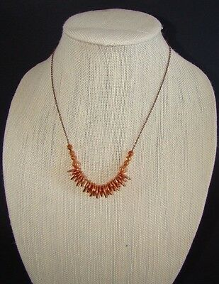 NEW $28 Shiny Copper-Tone Disk Grommet Bead Dainty Antiqued Chain Necklace #5040