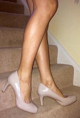 Next Nude Patent Leather High Heel Court Shoes 9 43