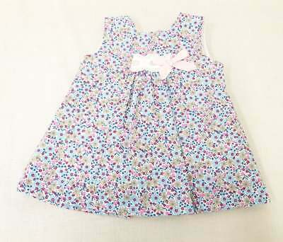 Girls Alber Spanish Blue Flower Ditsy Print ribbon slot Dress 1 Month - reborn