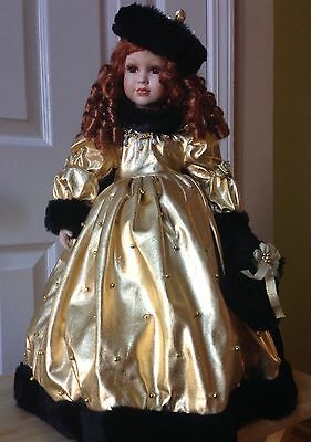 "Seymour Mann 20"" Porcelain Doll with Stand~ Hand Finished~ Gold Dress, Cape, Hat"