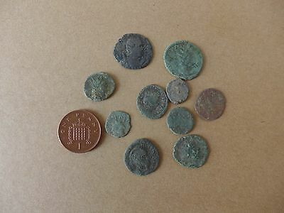 10 Uncleaned British Found Roman Coins Dating 3rd-4th Century AD (22)