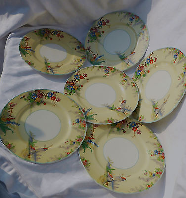 """""""Old Mill""""  Grindley, Tunstall, England Set of 6 x Plates 22.5cm Diameter"""
