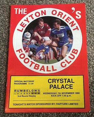 Leyton Orient v Crystal Palace Nov 1990 League Cup Programme