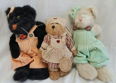 Boyd's Bears Lot of 3 Plush Bears Cats Spooky, Suzie and Unknown Nurse