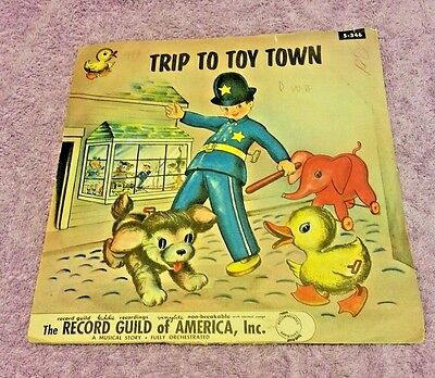 1954 record guild vinyl record Trip to Toy Town record guild kiddie 78 RPM