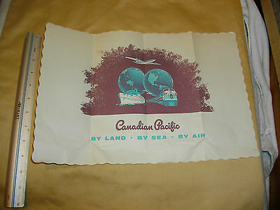 canadian pacific placemat folded  by land by sea by air vintage